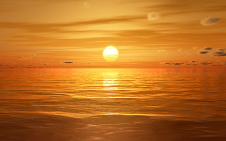 3d illustration of a golden sunset at the ocean Stock Photo
