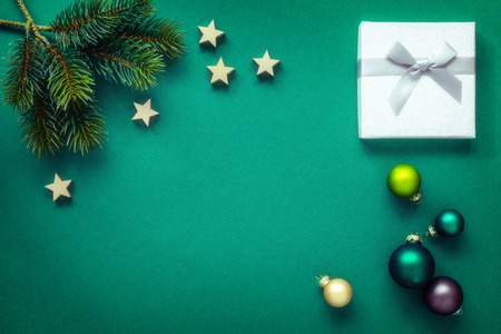 A Christmas decoration   green with silver gift box