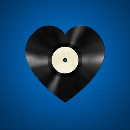 An illustration of an vinyl record in heart shape Archivio Fotografico
