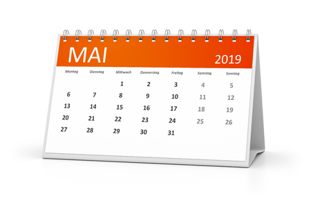 A table calendar for your events 2019 may in german language 3d illustration
