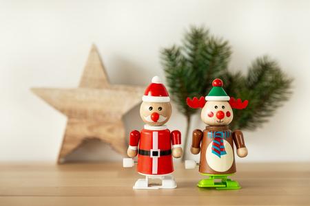 An image of Christmas figures reindeer Santa Claus toys