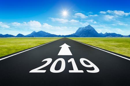New Year 2019 road to the horizon