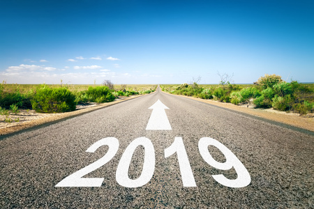 New Year 2019 road to the horizon Stock Photo