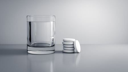 a glass of water with some tablets 3D illustration