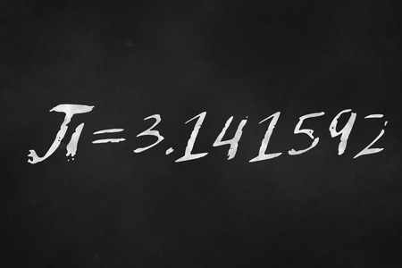 An illustration of the number pi written on a chalkboard Stok Fotoğraf