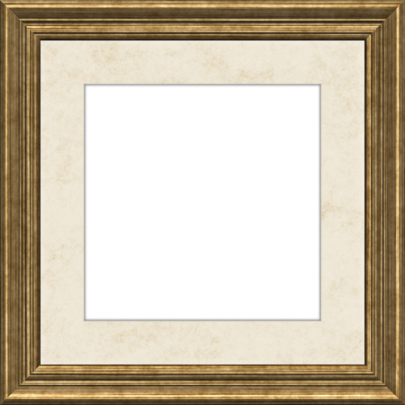 A typical golden wooden frame with passe-partout background illustration Stock Photo