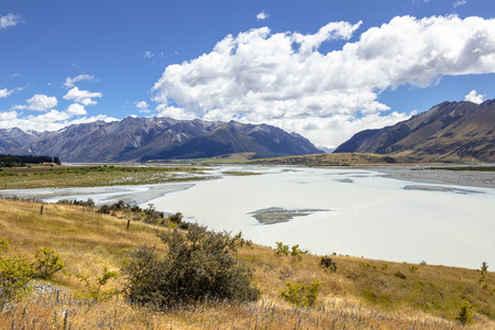 An image of the Rakaia River scenery in south New Zealand