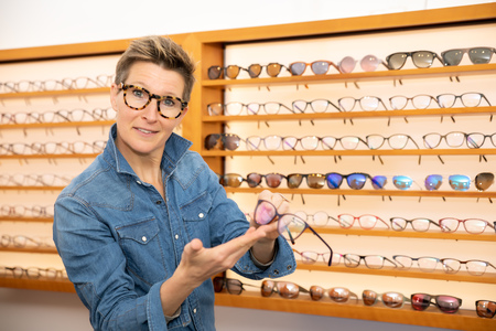 An image of a woman in a eyewear store