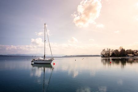 An image of a nice boat at Starnberg lake Stock Photo