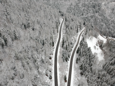 An image of a Black Forest winter scenery aerial view Germany