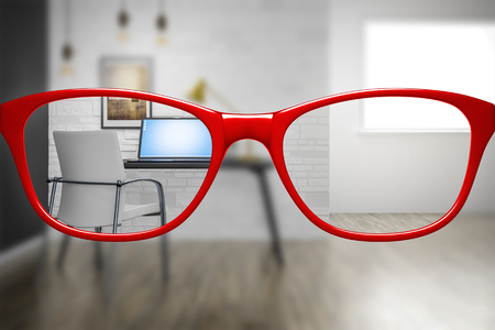 3d illustration of red glasses with home office sharp and blurred 写真素材