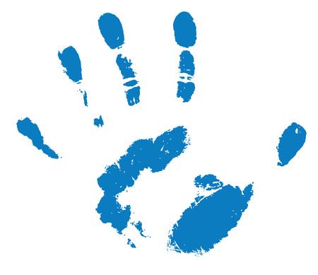 An illustration of a blue human handprint on white Standard-Bild