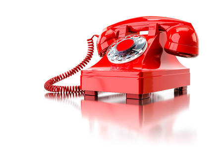 3d illustration of an old red dial-up phone