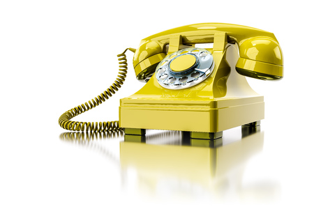 3d illustration of an old yellow dial-up phone Stock fotó