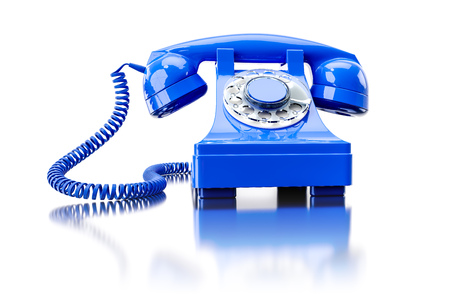 3d illustration of an old blue dial-up phone