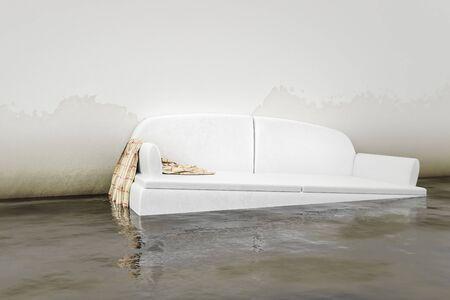 An interior water damage white sofa 3d illustration