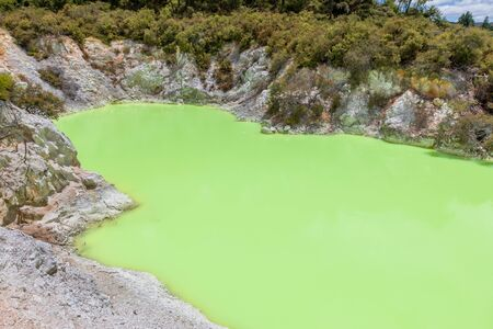 An image of geothermal activity at Rotorua in New Zealand Stok Fotoğraf