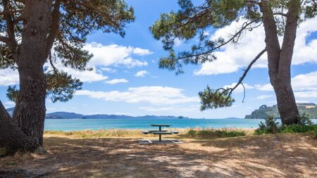 An image of a rest area at the beach in south New Zealand Stockfoto