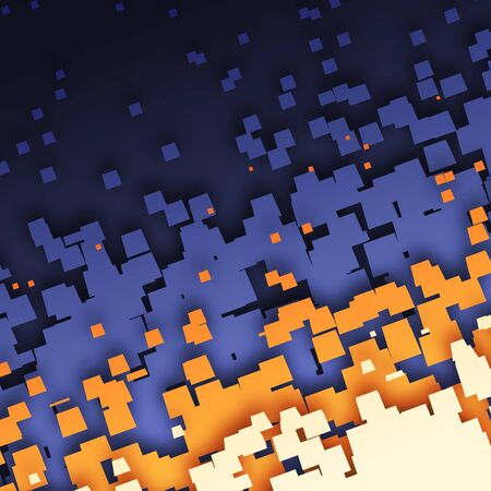 An illustration of an abstract blue orange tiles background
