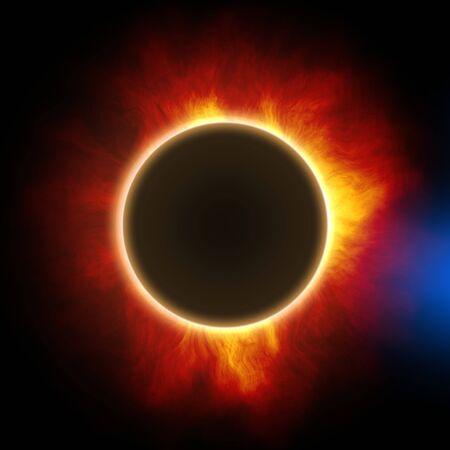 une éclipse solaire totale dans l'illustration détaillée de l'espace Banque d'images