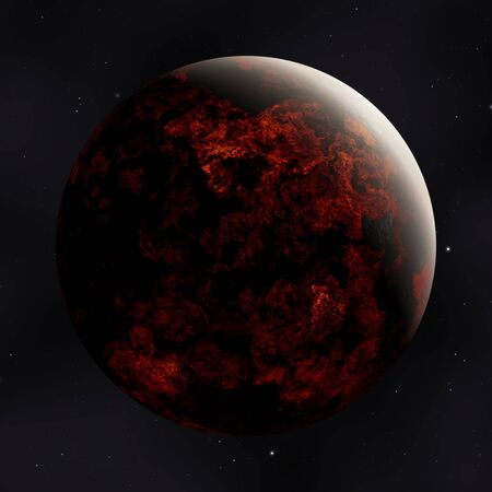 red planet in space with stars illustration