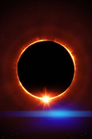 total sun eclipse with stars and flare illustration Imagens