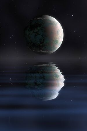 planet in space with water reflection illustration