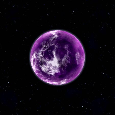 purple planet in space with stars illustration