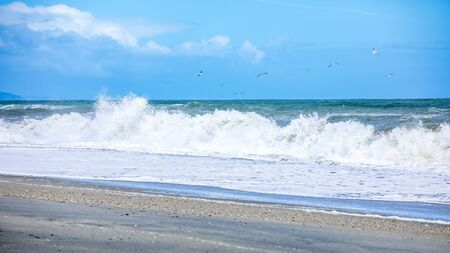 An image of a stormy ocean scenery background Stock fotó - 129324720
