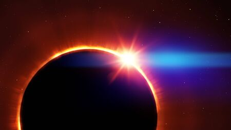 total sun eclipse with stars and flare illustration Zdjęcie Seryjne