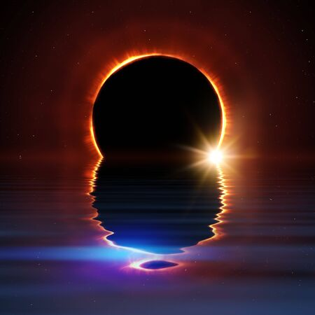 total sun eclipse water reflection with stars and flare illustration Zdjęcie Seryjne - 129324905
