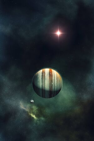 beautiful night sky with gas giant planet and nebula 3D illustration Stock fotó