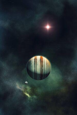 beautiful night sky with gas giant planet and nebula 3D illustration Zdjęcie Seryjne