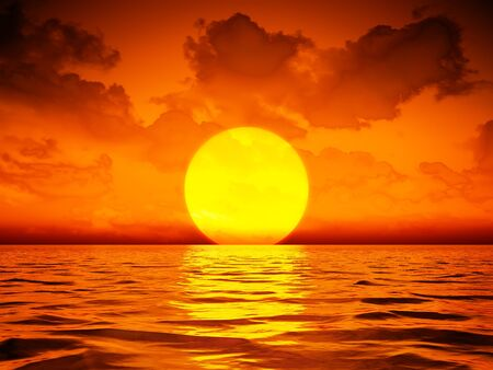 A big sooting sunset wallpaper 3D illustration Stockfoto