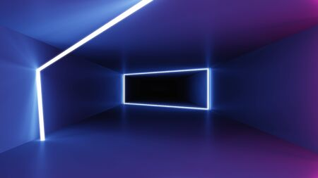 A neon lights tunnel background 3D illustration