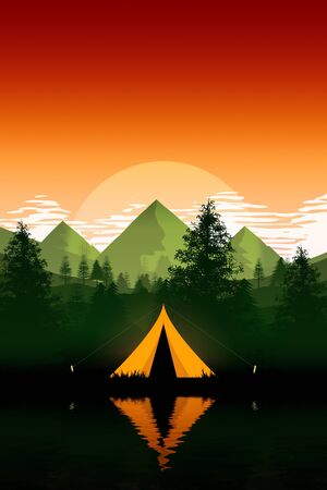 An illustration of a camping tent in the evening mountains nature