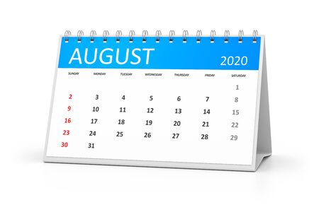 a table calendar for your events 2020 august 3d illustration Stock Photo