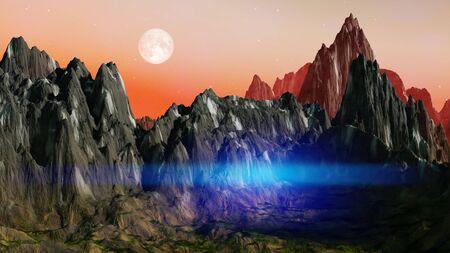 A fantasy landscape scenery at dawn 3D illustration