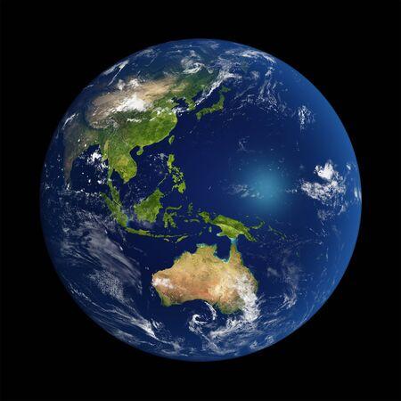Der Planet Erde mit NASA-Texturen 3D-Darstellung Standard-Bild