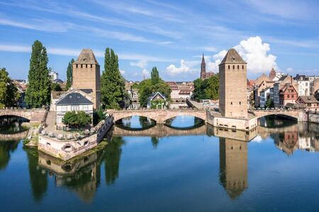 An image of a Strasbourg scenery water towers