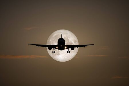 A photography of a jet air plane in the moon