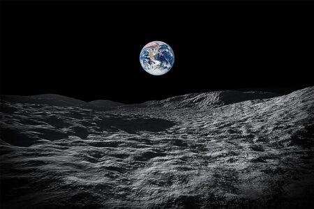 Obraz kosmicznego widoku na naszą planetę Ziemię z Księżyca