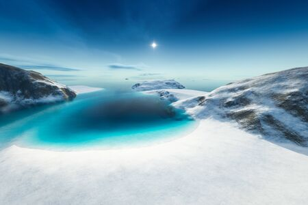 An image of a nice north pole scenery 3d illustration Banque d'images - 130128756