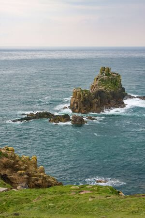 A photography of a rough coast in cornwall Banco de Imagens
