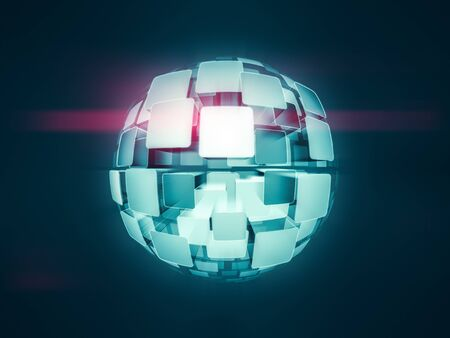 A glowing screens globe sphere 3d illustration