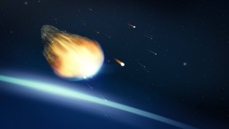 glowing asteroid in deep space 3D illustration