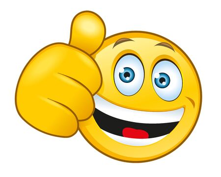 An illustration of a laughing smiley with a thumbs up sign Banco de Imagens