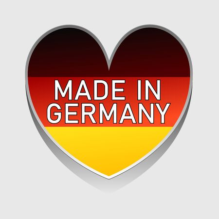 A german national colored heart with text made in germany