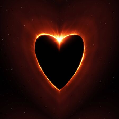 heart shape sun eclipse with stars illustration