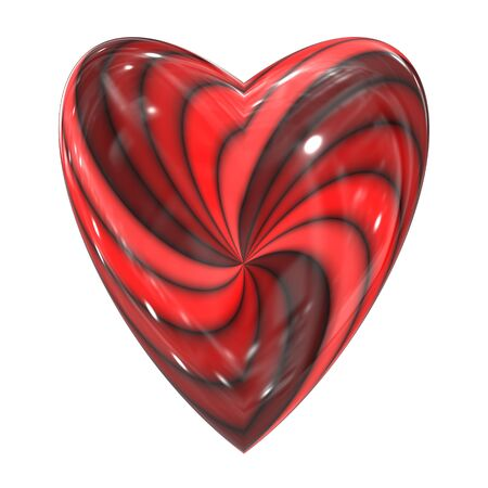 An illustration of a red heart swirl glass sphere Archivio Fotografico